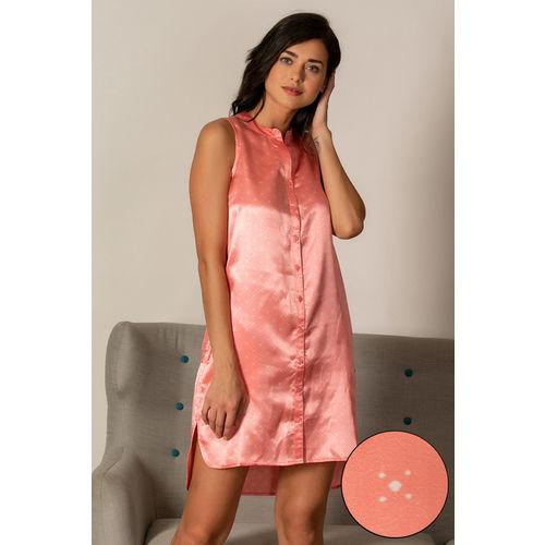 Zivame Satin Stripes N Polkas Mid Length Nightdress - Pink N Print