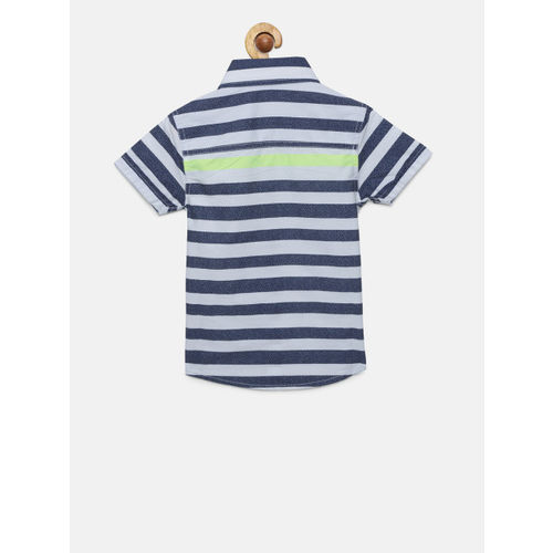 Pepe Jeans Boys White & Blue Striped Casual Shirt