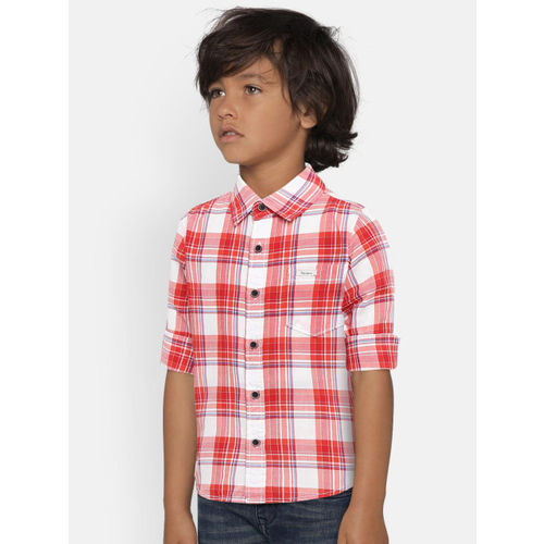 Pepe Jeans Boys Red Regular Fit Checked Casual Shirt