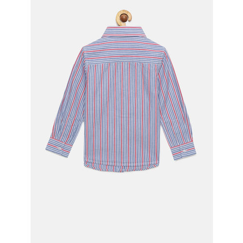 Pepe Jeans Boys Blue & Red Striped Casual Shirt