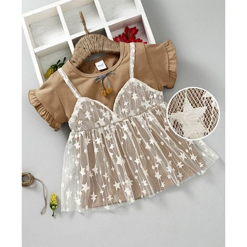 Meng Wa Short Sleeves Layered Frock With Embroidery - Brown