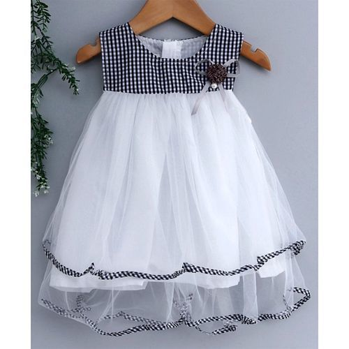 Kookie Kids Sleeveless Frock Checked Pattern - White