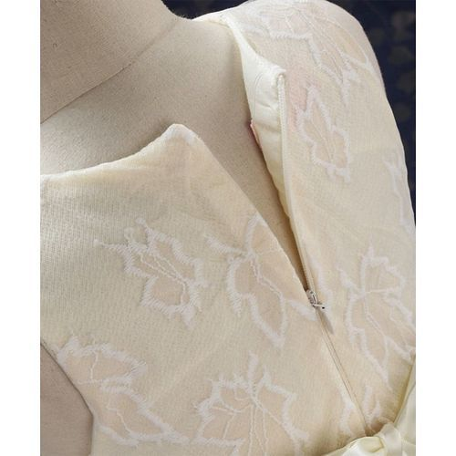 Kookie Kids Sleeveless Party Wear Frock Maple Leaf Embroidered - Cream