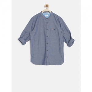 Pepe Jeans Boys Blue Self-Design Semi Fit Casual Shirt