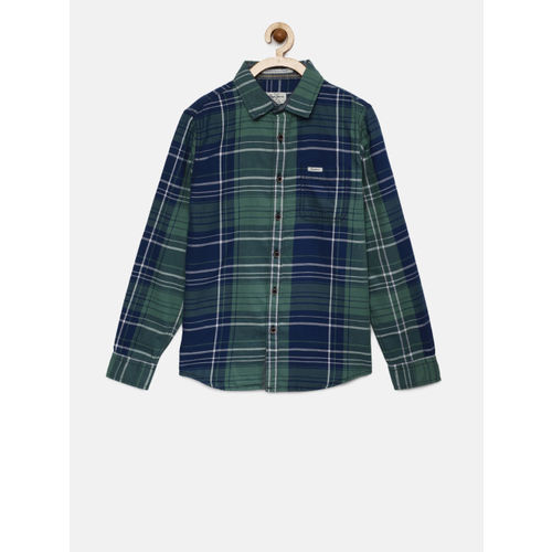 Pepe Jeans Boys Green & Blue Regular Fit Checked Casual Shirt