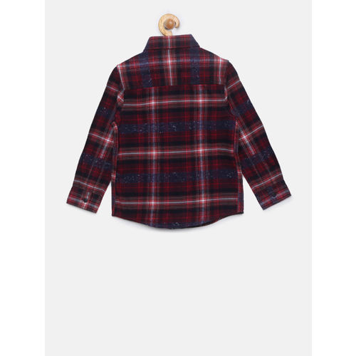 Pepe Jeans Boys Red & Blue Regular Fit Checked Casual Shirt