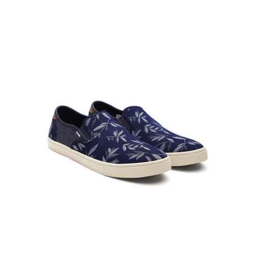 TOMS Men Navy Blue & White Printed Denim Slip-On Sneakers