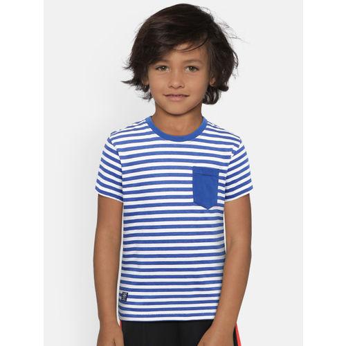 Pepe Jeans Boys Blue & White Striped Round Neck T-shirt