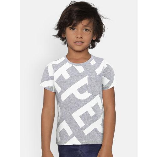 Pepe Jeans Boys Grey & White Printed Round Neck T-shirt