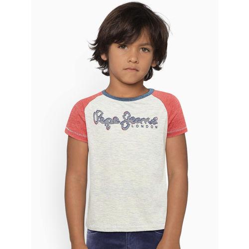 Pepe Jeans Boys Grey Melange & Red Printed Round Neck T-shirt