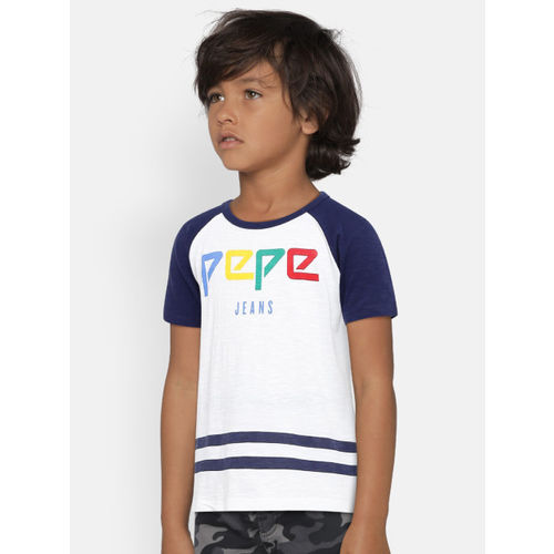 Pepe Jeans Boys White Printed Round Neck T-shirt