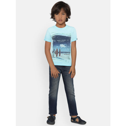 Pepe Jeans Boys Blue Printed Round Neck T-shirt