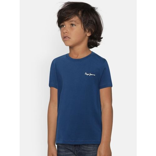 Pepe Jeans Boys Navy Blue Solid Round Neck T-shirt