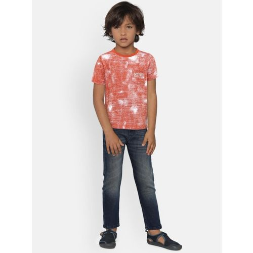 Pepe Jeans Boys Red & White self Design Round Neck T-shirt