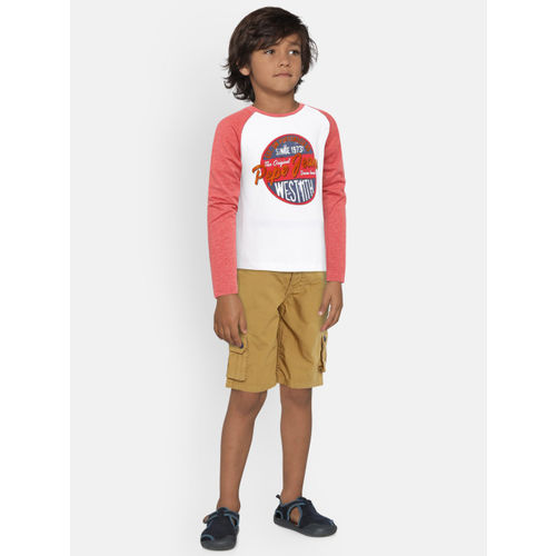 Pepe Jeans Boys Red & White Printed Round Neck T-shirt