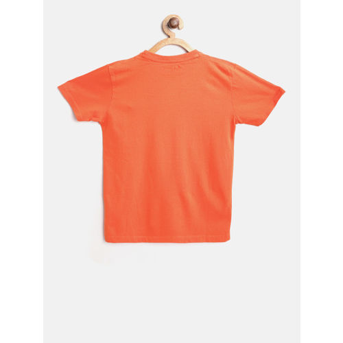 Pepe Jeans Boys Orange Printed Round Neck T-shirt