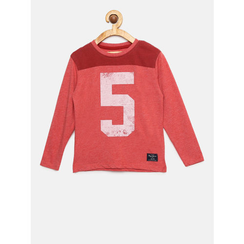 Pepe Jeans Boys Red Printed Round Neck T-shirt