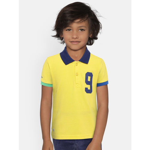 Pepe Jeans Boys Yellow Solid Polo Collar T-shirt