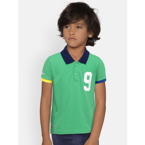 Pepe Jeans Boys Green Solid Polo Collar T-shirt