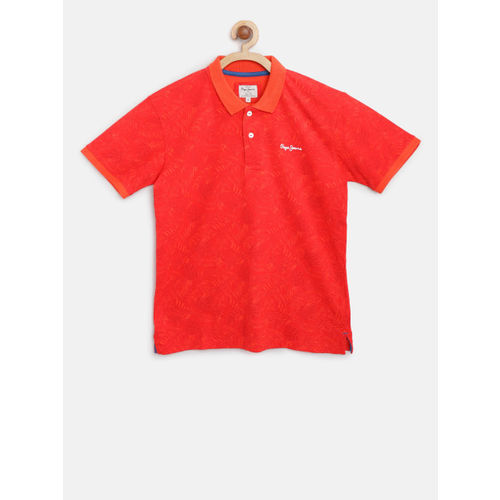 Pepe Jeans Boys Coral Printed Polo Collar T-shirt