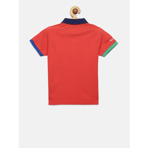 Pepe Jeans Boys Red Solid Polo Collar T-shirt