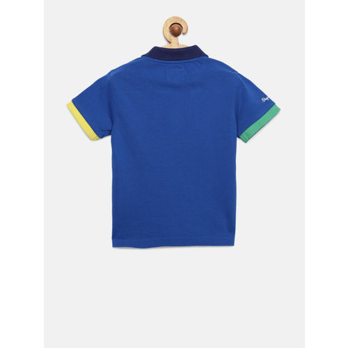 Pepe Jeans Boys Blue Solid Polo Collar T-shirt