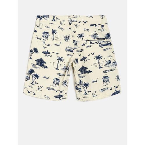 Pepe Jeans Boys Beige Printed Regular Fit Regular Shorts