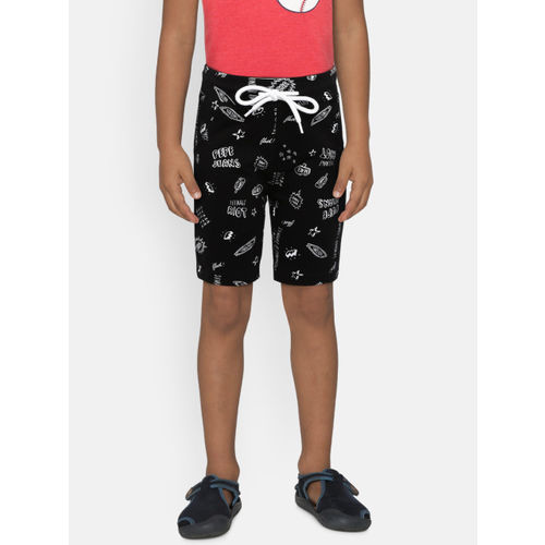 Pepe Jeans Boys Black Printed Regular Shorts