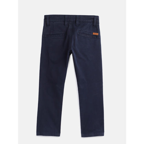 Pepe Jeans Boys Navy Blue Regular Fit Solid Chinos