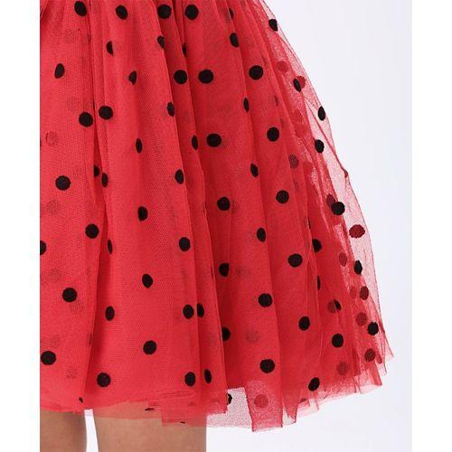 Mark & Mia Sleeveless Party Wear Frock Polka Dot Print - Red Black