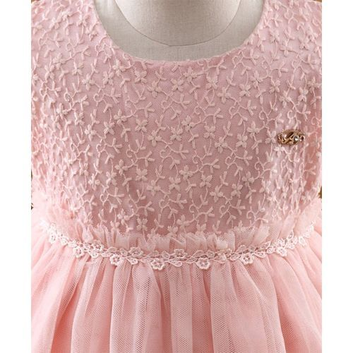 Amigo 7 Seven Floral Embroidery Sleeveless Dress - Pink