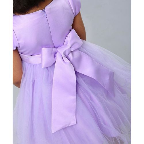 Mark & Mia Short Sleeves Embellished Party Frock - Light Purple