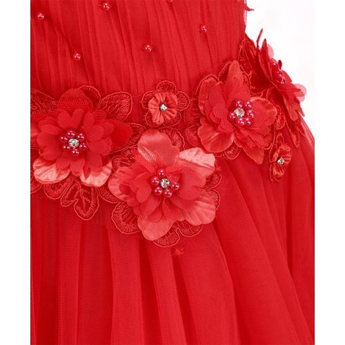 Mark & Mia Sleeveless Gown Floral Applique - Red