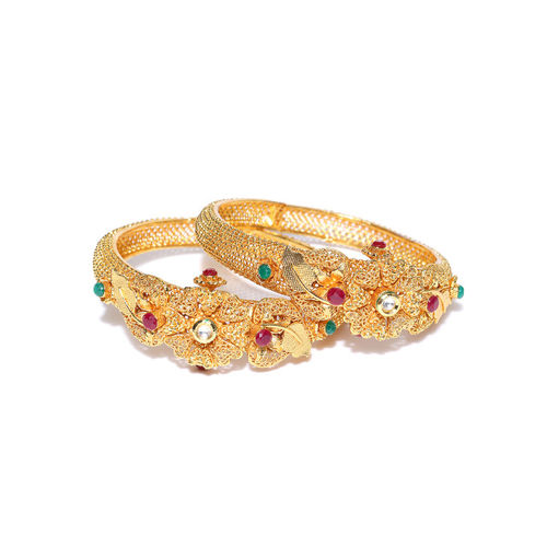 damani Set of 2 Gold-Toned & Red Stone-Studded Textured Bangles