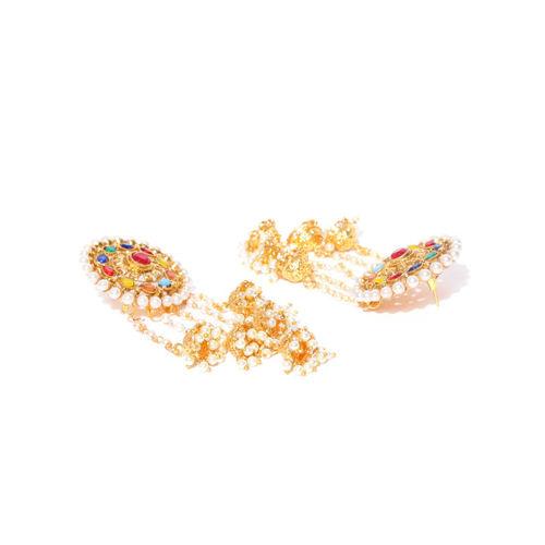 damani Gold-Plated Stone-Studded Circular Polki Drop Earrings