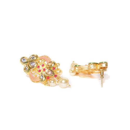 Melani Borsa Peach-Coloured Gold-Plated Kundan-Studded Enamelled Handcrafted Jewellery Set