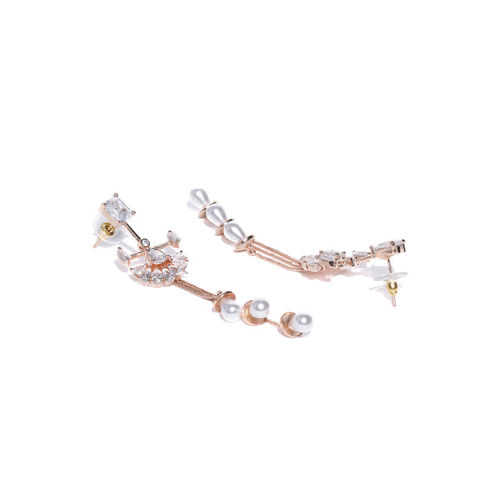 Melani Borsa Rose Gold-Plated Handcrafted CZ Studded Beaded Contemporary Drop Earrings
