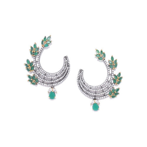 Melani Borsa Green & Gunmetal-Toned Gold-Plated Handcrafted AD Stone-Studded Drop Earrings