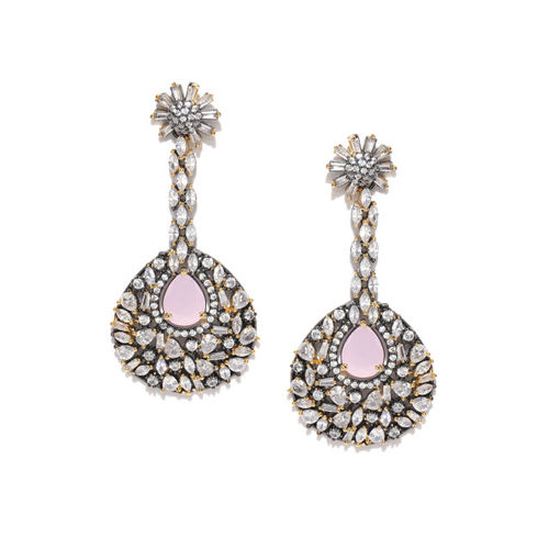 Melani Borsa Pink Gold-Plated Stone-Studded Handcrafted Teardrop Shaped Drop Earrings