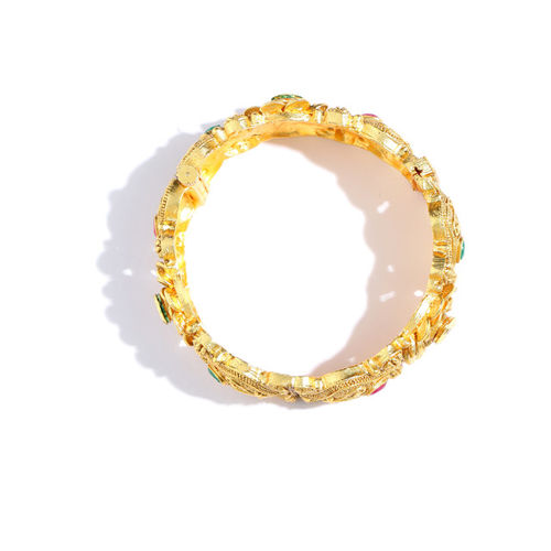 Melani Borsa Set of 2 Gold-Plated Stone-Studded Handcrafted Bangles