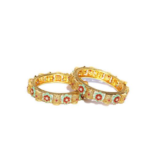 Melani Borsa Women Set of 2 Gold-Plated Stone-Studded Handcrafted Bangles