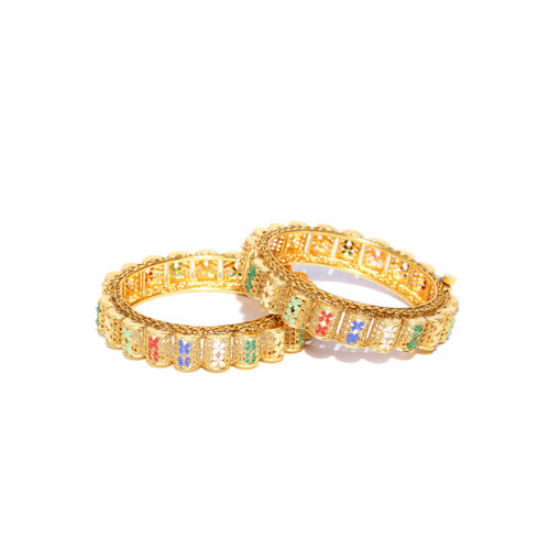Melani Borsa Women Set of 2 Gold-Plated Handcrafted Bangles