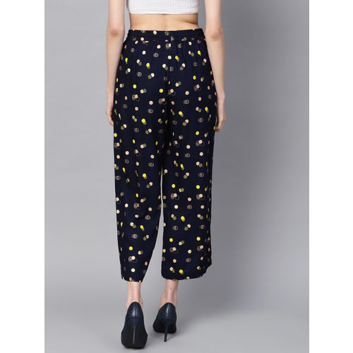 Juniper Women Navy Blue & Golden Printed Straight Cropped Palazzos