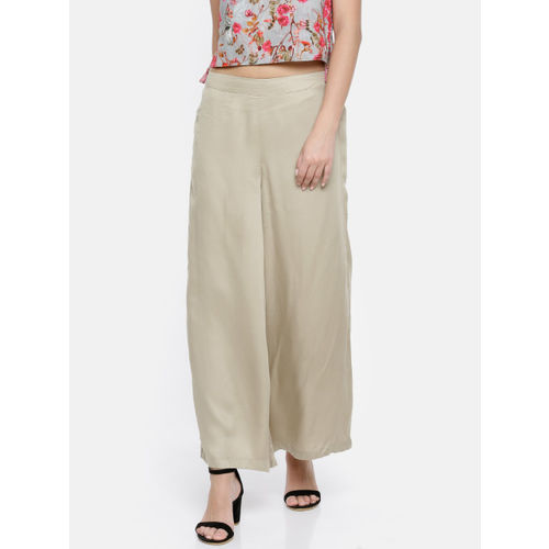 Melange by Lifestyle Women Beige Flared Solid Palazzos
