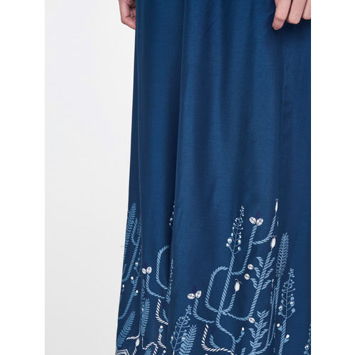 Global Desi Women Blue Printed Flared Cropped Palazzos