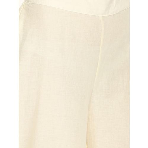 Melange by Lifestyle Women Off-White Straight Hem Design Palazzos