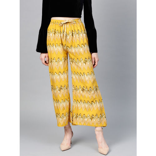 Yufta Women Mustard Yellow & Beige Wide Leg Printed Palazzos
