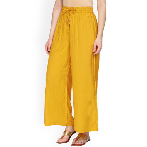 Alena Women Mustard Yellow Solid Wide Leg Palazzos
