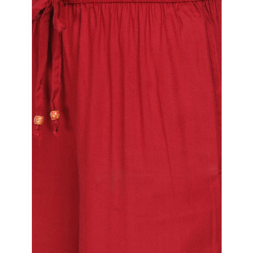 Alena Women Red Solid Wide Leg Palazzos