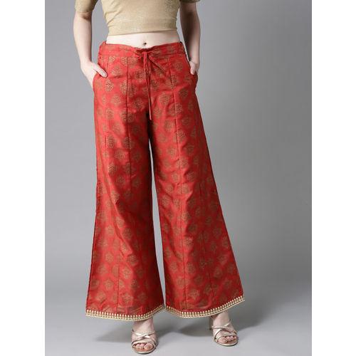 Moda Rapido Women Rust Red & Golden Printed Wide Leg Palazzos